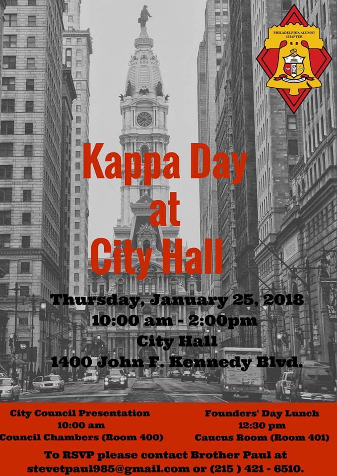 Ad for 2018 Kappa Day at City Hall