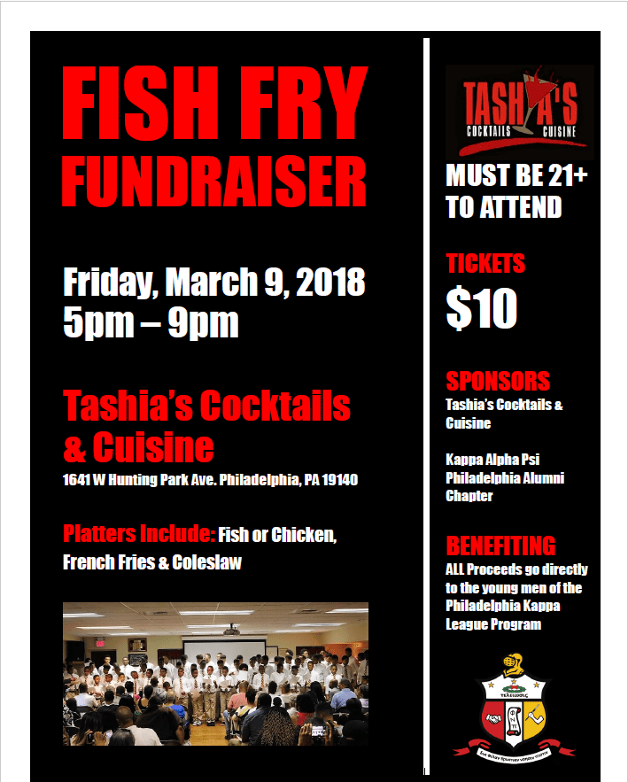 Flyer for Fish Fry Fundraiser on 20180309