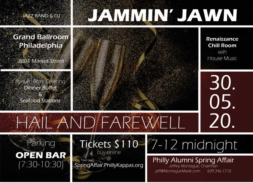 Flyer for the Jammin' Jawn. The 2020 Spring Affair