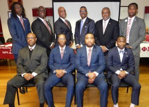 Photo of 47th Polemarch Stephens, 48th Polemarch Harrell and the Spring 2018 Initiates