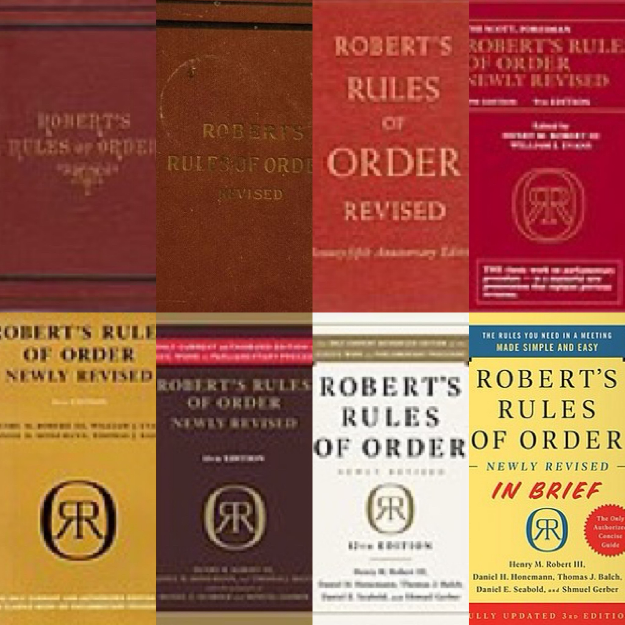 A graphic of a collage showing covers of various editions of Robert's Rules of Order
