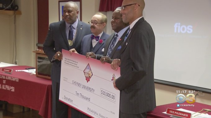 Photo of Polemarch L. Douglas Harrell, Jr and Conclave Local Host Chairman Sam Patterson awarding Cheyney President 10K Gift